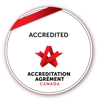 Accreditation Seal - circle with red banner and Accreditation Canada Logo
